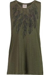 Haute Hippie Printed Modal Jersey Tank Army Green