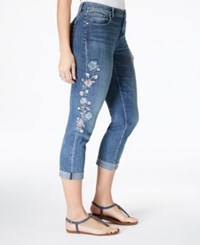 Styleandco. Style Co Curvy Fit Embroidered Boyfriend Jeans Created For Macy's Brisk Wash