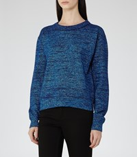 Reiss Richelle Womens Metallic Jumper In Blue
