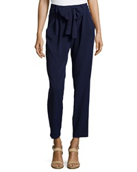 Greylin Self Tie Waist Tapered Pants Navy