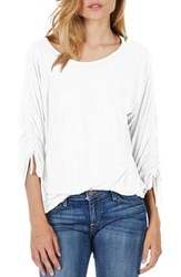 Michael Stars Ruched Sleeve Tee White
