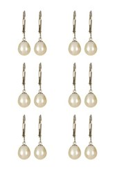 7 8Mm White Freshwater Pearl Drop Sterling Silver Earrings Wedding Bridesmaid Gift Set