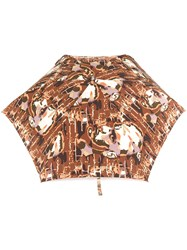 Jean Paul Gaultier Vintage Face Printed Umbrella Brown