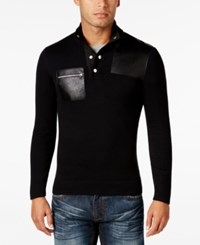 Inc International Concepts Men's Faux Leather Trim Snap Sweater Only At Macy's Deep Black