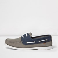 River Island Mens Grey And Blue Boat Shoes