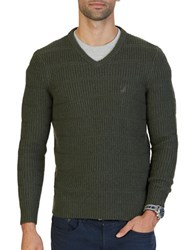 Nautica Knitted V Neck Sweater Moss Heather