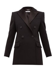 Givenchy Double Breasted Satin Lapel Wool Blend Jacket Black