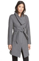 Women's Guess Belted Asymmetrical Wool Blend Trench Coat Heather Grey