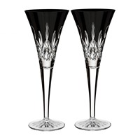 Waterford Lismore Black Champagne Flute Set Of 2