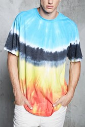 Forever 21 Tie Dye High Low Tee Blue Red