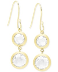 Victoria Townsend White Quartz 9 Ct. T.W. Bezel Drop Earrings In 18K Gold Over Sterling Silver