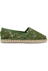 Valentino Garavani Woman Leather Trimmed Corded Lace Espadrilles Army Green