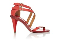 Chloe Women's Double Strap Leather Sandals Red