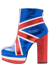 Shellys London Robi Platform Boots Blue Red Neon Blue