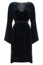 Emilio Pucci Velvet Dress With Fluted Sleeves Blue
