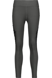 Koral Meteor Cutout Mesh Paneled Stretch Leggings Dark Gray