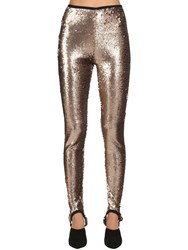 Stella Jean Sequined Stretch Stirrup Leggings Gold