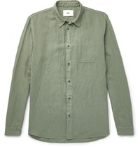 Folk Linen And Cotton Blend Shirt Green