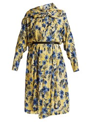 Balenciaga Floral Print Silk Dress Yellow Print