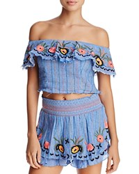 Red Carter Alta Off The Shoulder Crop Top Chambray