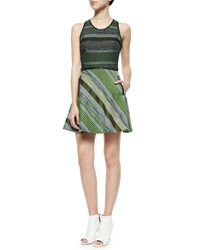 Andrew Marc New York Andrew Marc Striped Tweed Racerback Dress Black Green