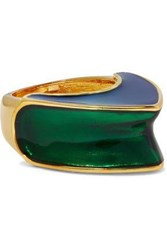 Kenneth Jay Lane Gold Tone Color Block Enamel Ring Royal Blue