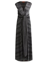 Missoni Zigzag Knitted Wrap Front Dress Black