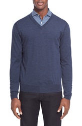 Canali Wool V Neck Sweater Blue