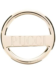 Emilio Pucci Logo Engraved Brooch Gold