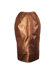 Joana Almagro Metallic Bronze Skirt Brown Gold