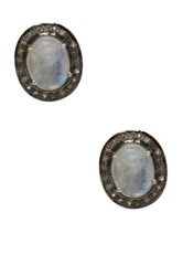 Diana Ciler Jewelry Sterling Silver Moonstone And White Topaz Stud Earrings