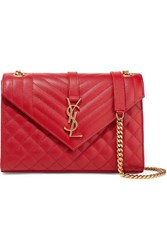 Saint Laurent Envelope Medium Quilted Textured Leather Shoulder Bag
