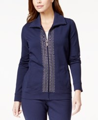 Jm Collection Petite Embellished Zip Up Jacket Only At Macy's