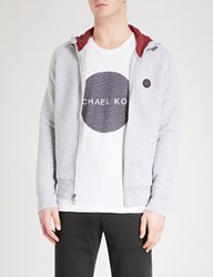 Michael Kors Logo Embroidered Cotton Blend Hoody Heather Grey