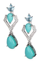 Olivia Leone Sterling Silver Turquoise Swiss Blue Topaz And White Topaz Dangle Earrings