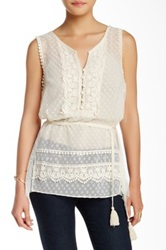 Ryu Mixed Media Sleeveless Blouse White