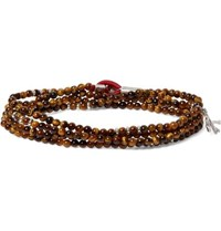 Isaia Saracino Tiger's Eye And Sterling Silver Beaded Wrap Bracelet Brown