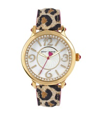 Betsey Johnson Pave And Mother Of Pearl Leopard Watch