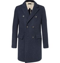 Loro Piana Double Breasted Virgin Wool And Cashmere Blend Coat Navy