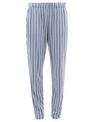 Hanro Striped Cotton Blend Jersey Pyjama Trousers Blue Stripe