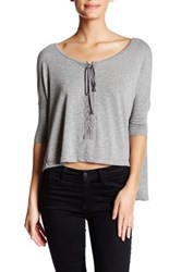 Poof Dolman Sleeve Lace Up Tee Gray