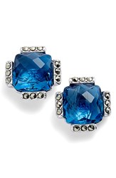 Judith Jack Women's Crystal Stud Earrings Blue Gold