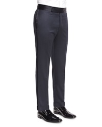 Belvest Formal Pants W Satin Stripe Navy