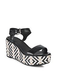 Frye Heather Woven Leather Wedge Sandals Black Multi