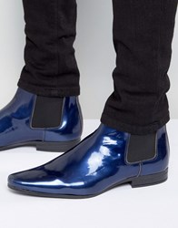 Asos Chelsea Boots In Blue Patent Blue
