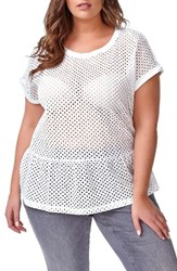 Addition Elle Love And Legend Plus Size Women's Eyelet Peplum Tee Antique Cloud