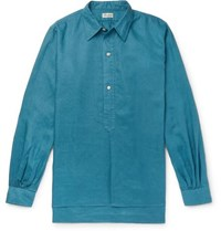 Camoshita Linen Half Placket Shirt Teal