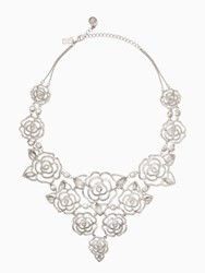 Kate Spade Crystal Rose Statement Necklace Clear Silver