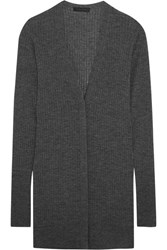 Calvin Klein Collection Ribbed Cashmere Blend Cardigan Dark Gray