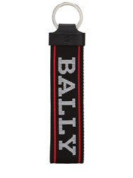 Bally Logo Tech Canvas Key Chain Black
